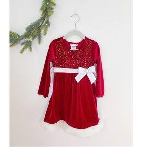 Ashley Ann Christmas Dress velvet sequin bow 4T